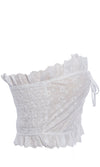 In A Minute White Eyelet Lace Strapless Ruffle Lace Up Grommet Smocked Back Crop Tube Top Blouse - Sold Out