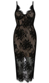 Say My Name Sheer Mesh Lace Sleeveless Spaghetti Strap V Neck Bodycon Bandage Midi Dress - 2 Colors Available