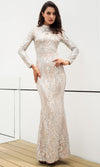Time To Sparkle Champagne Sequin Long Sleeve Off The Shoulder V Neck Mermaid Maxi Dress
