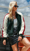 On The Boulevard Green White Red Faux Fur Raglan Sleeve Bomber Jacket Outerwear