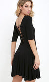 Wondering Why Black Elbow Sleeve Scoop Neck Lace Up Back Skater Circle A Line Flare Mini Dress - Sold Out