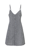 Gingham Goddess Black White Plaid Pattern Sleeveless V Neck A Line Casual Mini Dress - Sold Out
