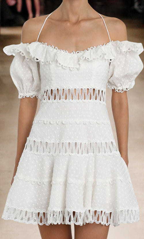 Side Stepping White Lace Cut Out Short Sleeve Ruffle Off The Shoulder Flare Casual Mini Dress