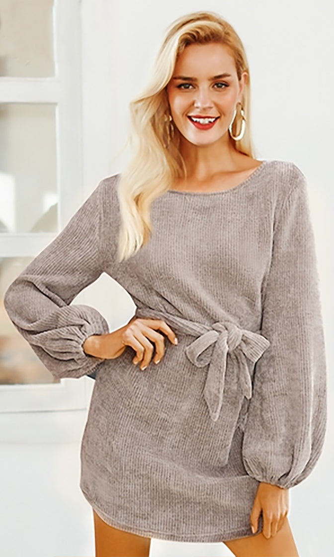 Doing It Right Chenille Long Lantern Sleeve Scoop Neck Keyhole Back Tie Belt Casual Sweater Mini Dress - 2 Colors Available