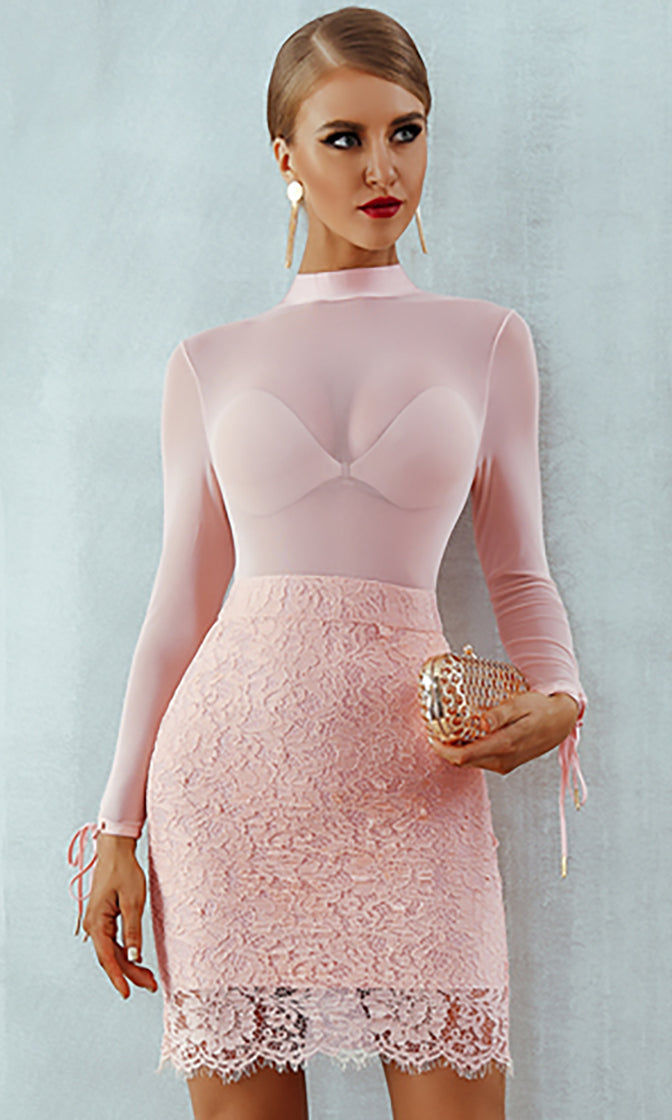 Move On Pink Sheer Mesh Lace Long Sleeve Mock Neck Bodycon Bandage Mini Dress