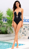 Rise To The Top Black Strapless Gemstone Plunge V Neck One Piece Swimsuit - Sold Out