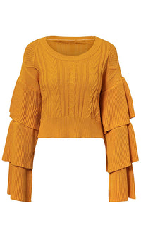 Flare The Love Long Flare Ruffle Sleeve Pattern Round Neck Pullover Sweater - 2 Colors Available - Sold Out