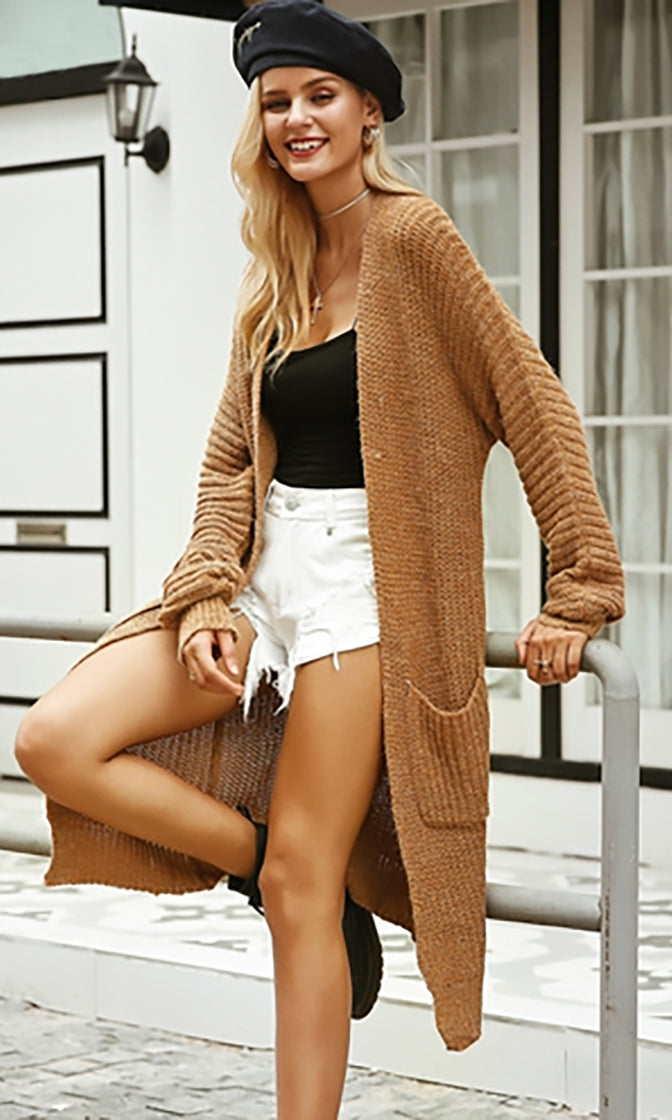 Ready For Everything Long Sleeve Double Pockets Open Front Cardigan Sweater - 3 Colors Available