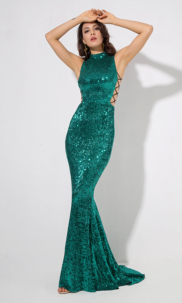 All About Glamour Emerald Green Sequin Sleeveless Mock Neck Cut Out Sides Fishtail Mermaid Maxi Dress