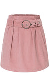 Rosy Glow Pink Corduroy High Waist Pleated Metal Belt A-line Mini Skirt