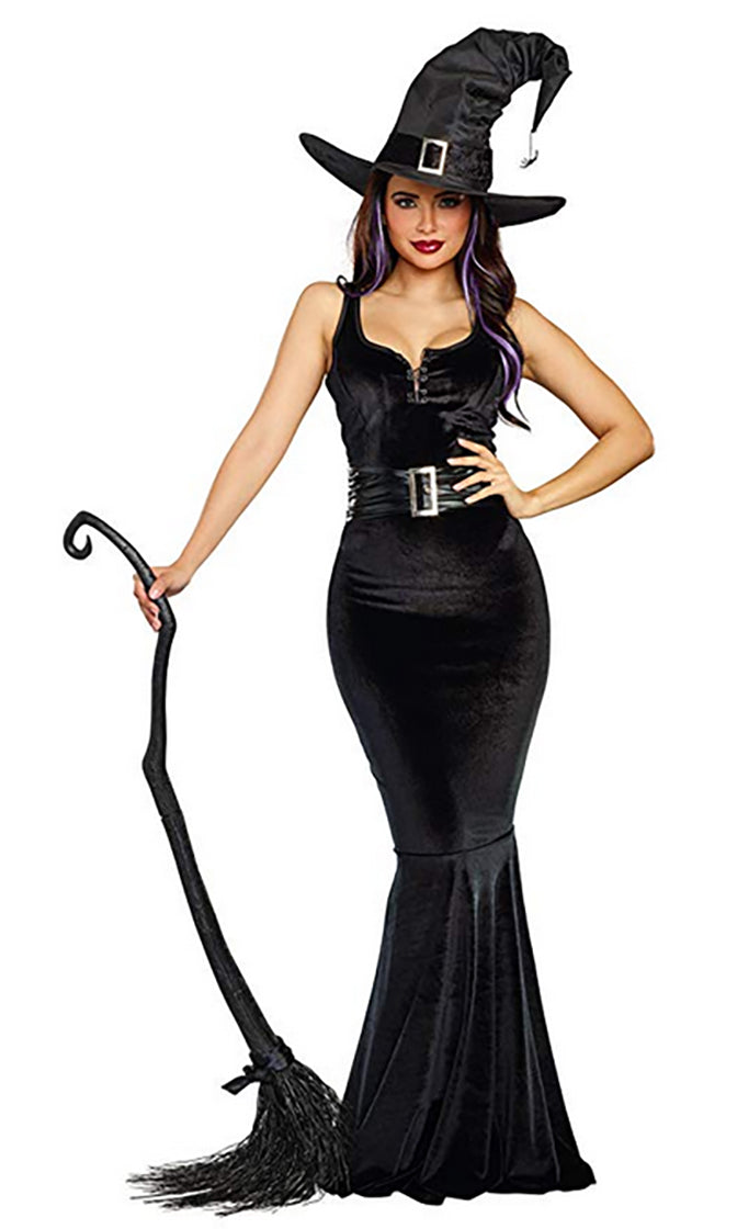 Witchy Poo Black Velvet Sleeveless V Neck Lace Up Bodycon Mermaid Maxi Dress Witch Costume