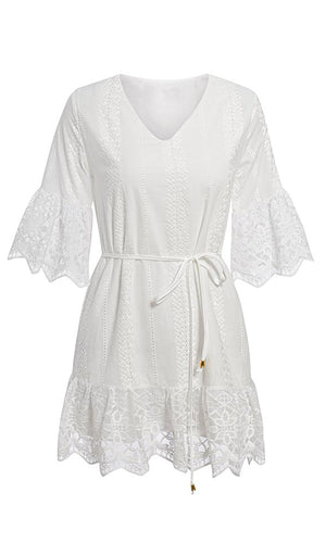 Be My Babe White 3/4 Length Sleeve Lace Embroidery Ruffle V Neck Casual Flare A Line Mini Dress - Sold Out