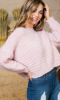 Pastel Princess Long Dolman Sleeve Round Neck Fluffy Pullover Sweater - Sold Out