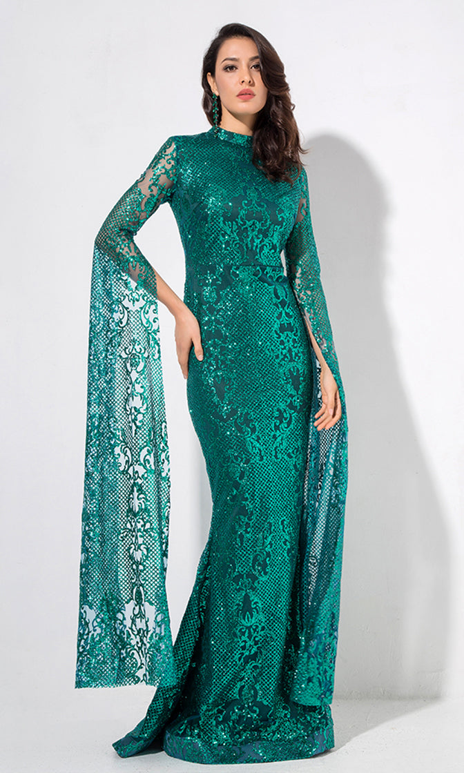 Longing For Love Emerald Green Lace Glitter Extra Long Sleeve Mock Neck Bodycon Mermaid Maxi Dress
