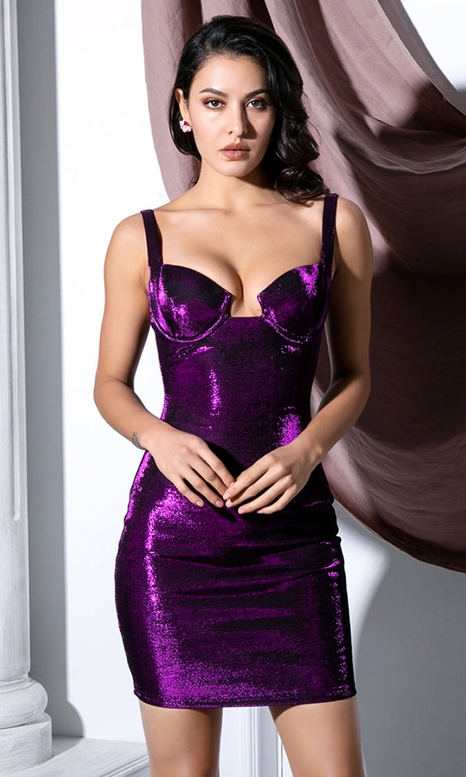 Midnight Love Affair Purple Sleeveless Cut Out V Neck Bodycon Mini Dress