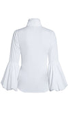 Sunday Socialite Long Lantern Sleeve Ruffle Button Front Blouse Top - 2 Colors Available - Sold Out