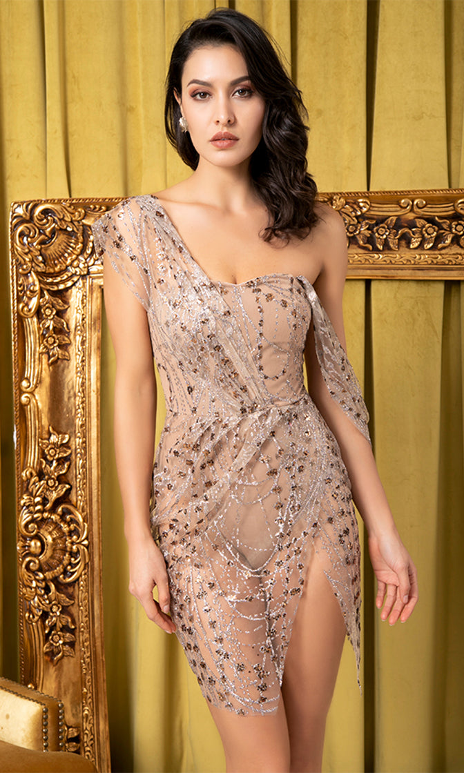 Dazzling Magic Off Shoulder Sling Cross Style Rose Gold Beige Glitter Pattern Slit Leg Mini Dress