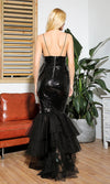 Take A Minute Black Sheer Mesh Ruched Sequin Sleeveless Spaghetti Strap V Neck Fishtail Mermaid Maxi Dress