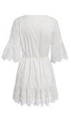 Be My Babe White 3/4 Length Sleeve Lace Embroidery Ruffle V Neck Casual Flare A Line Mini Dress