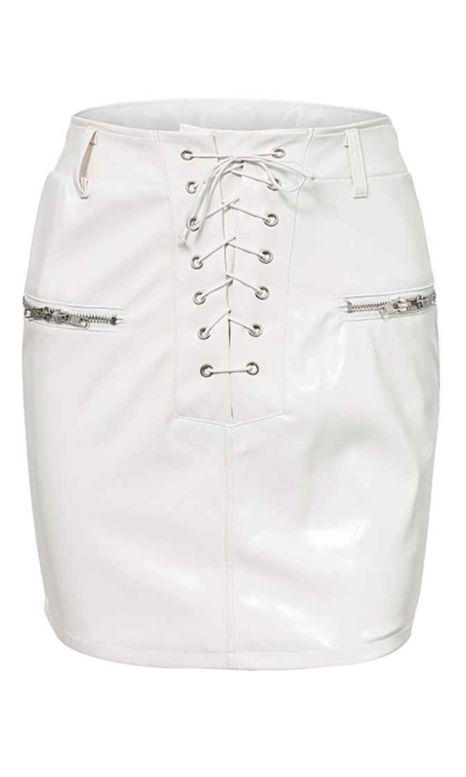 Take It Away PU Faux Leather Lace Up Zip Pocket Bodycon Mini Skirt - 2 Colors Available
