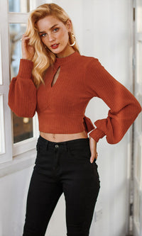 Talking In Circles Long Lantern Sleeve Mock Neck Pattern Keyhole Cut Out Back Bow Pullover Crop Sweater - 3 Colors Available