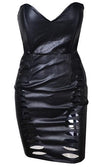 Wicked Whispers Black Beige Inset Faux Leather Strapless V Neck Cut Out Slashed Bodycon Mini Dress - Last One!- Sold Out