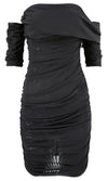 Stage Right Black Sheer Mesh Short Sleeve Off The Shoulder Bodycon Mini Dress - Sold Out