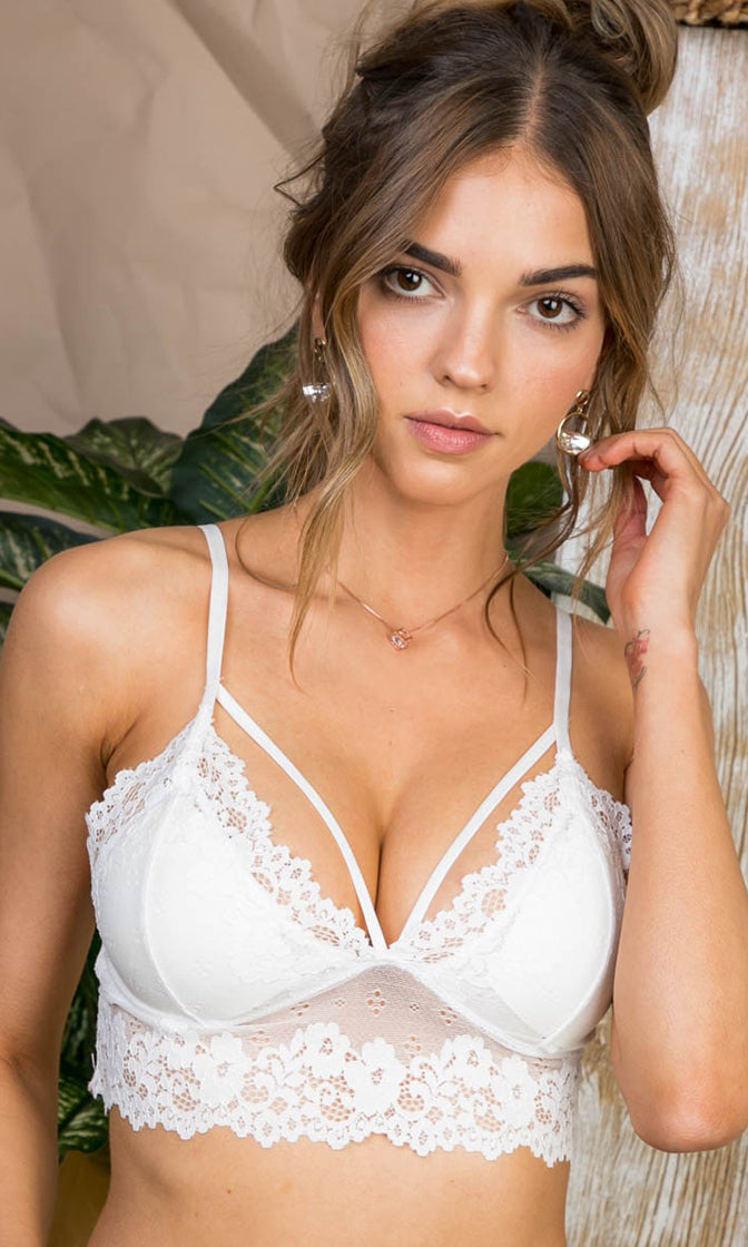 One For My Baby White Sheer Mesh Lace Sleeveless Spaghetti Strap V Neck Cut Out Bralette Lingerie Crop Top