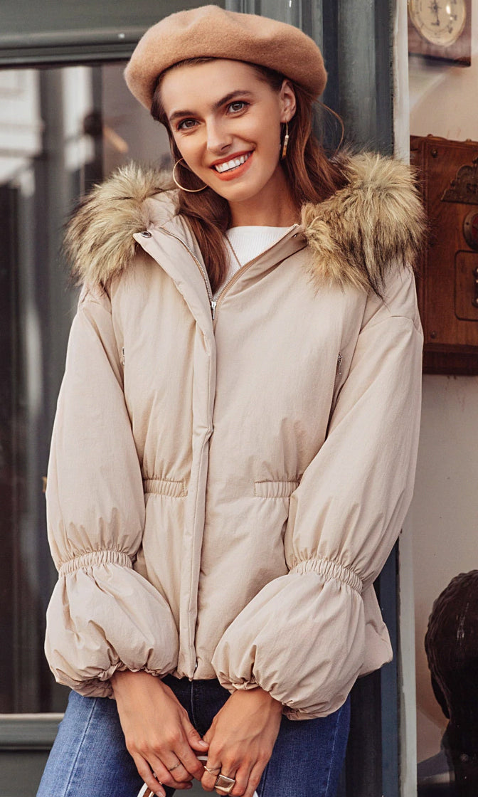 February Flirt Cream Long Puff Sleeve Faux Fur Hood Snap Padded Puffer Coat Outerwear - Sold Out
