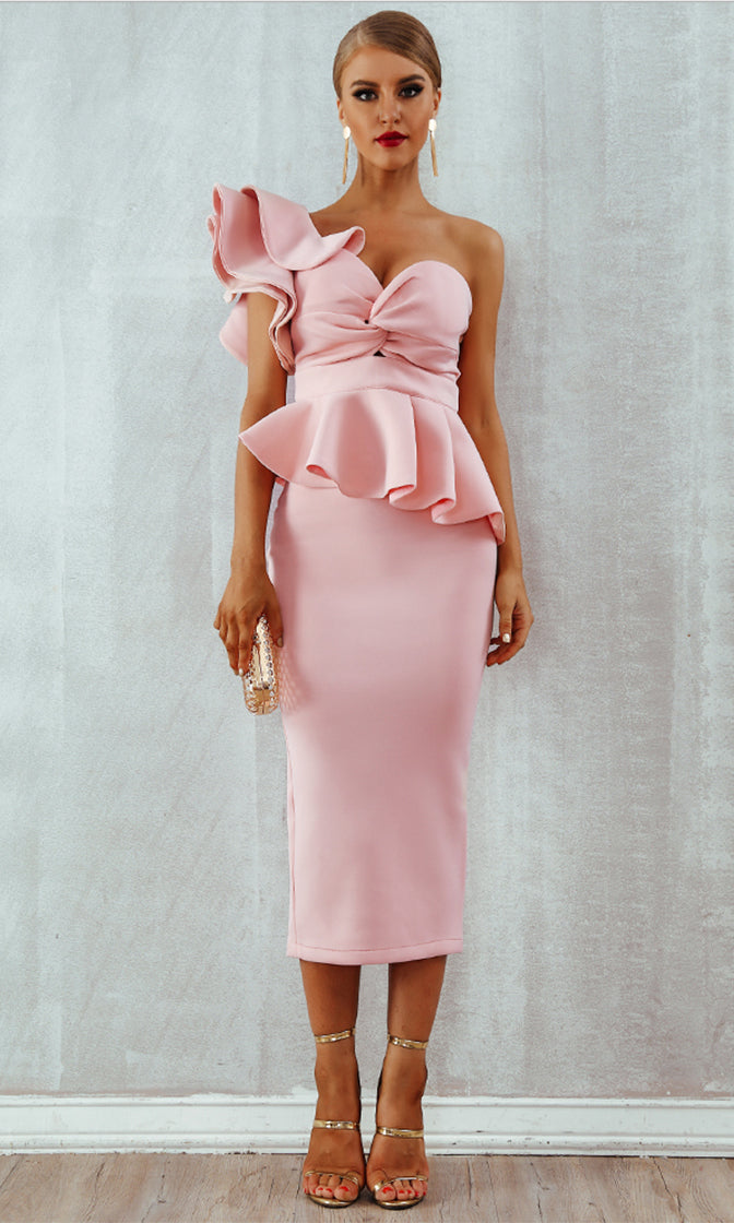 Be Faithful Pink One Shoulder Ruffle Peplum Twist Front Two Piece Bodycon Midi Dress