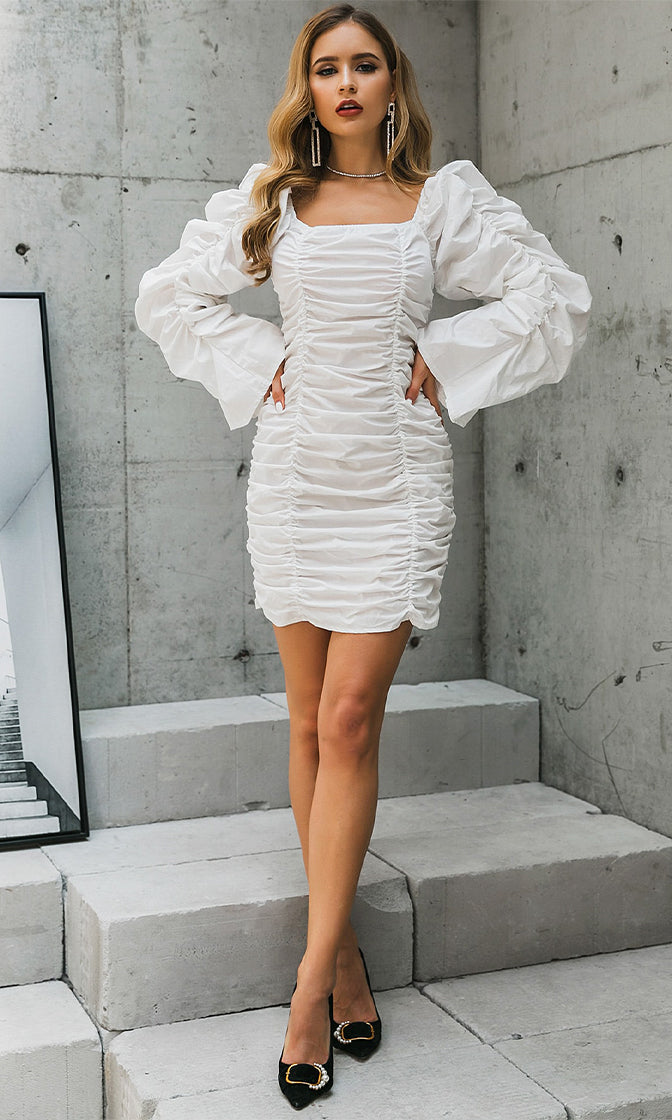 Sweet Ideas White Long Sleeve Puff Neck Ruched Bodycon Mini Dress