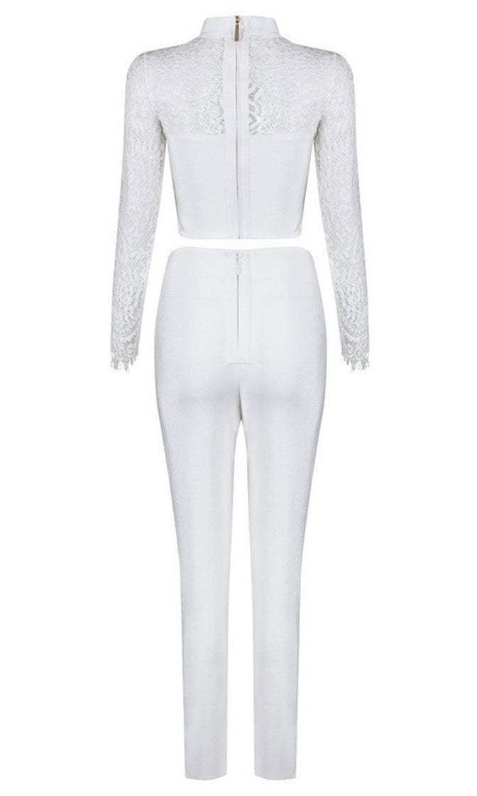 Party Crasher White Lace Long Sleeve Mock Neck Cut Out Crop Top Skinny Pant Bandage Bodycon Jumpsuit Two Piece Set