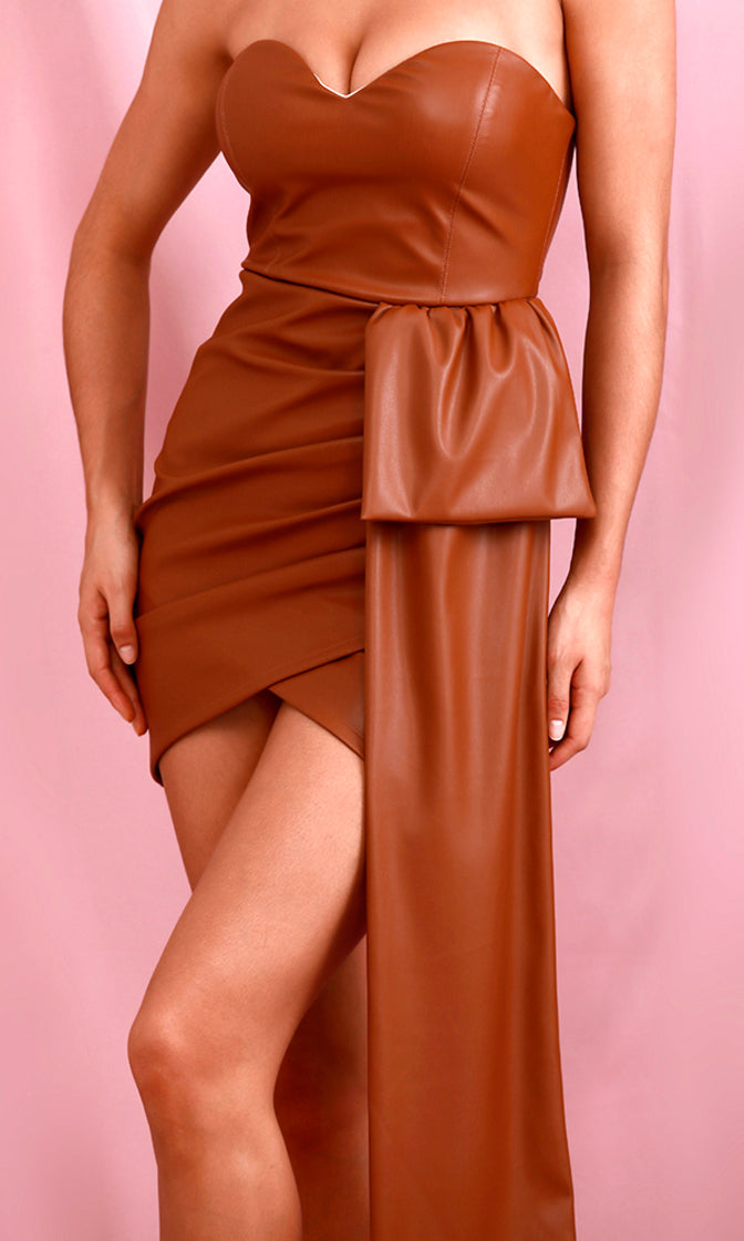 Wind It Up Brown PU Faux Leather Strapless Sweetheart Neck Cross Wrap Drape Sash Bodycon Mini Dress