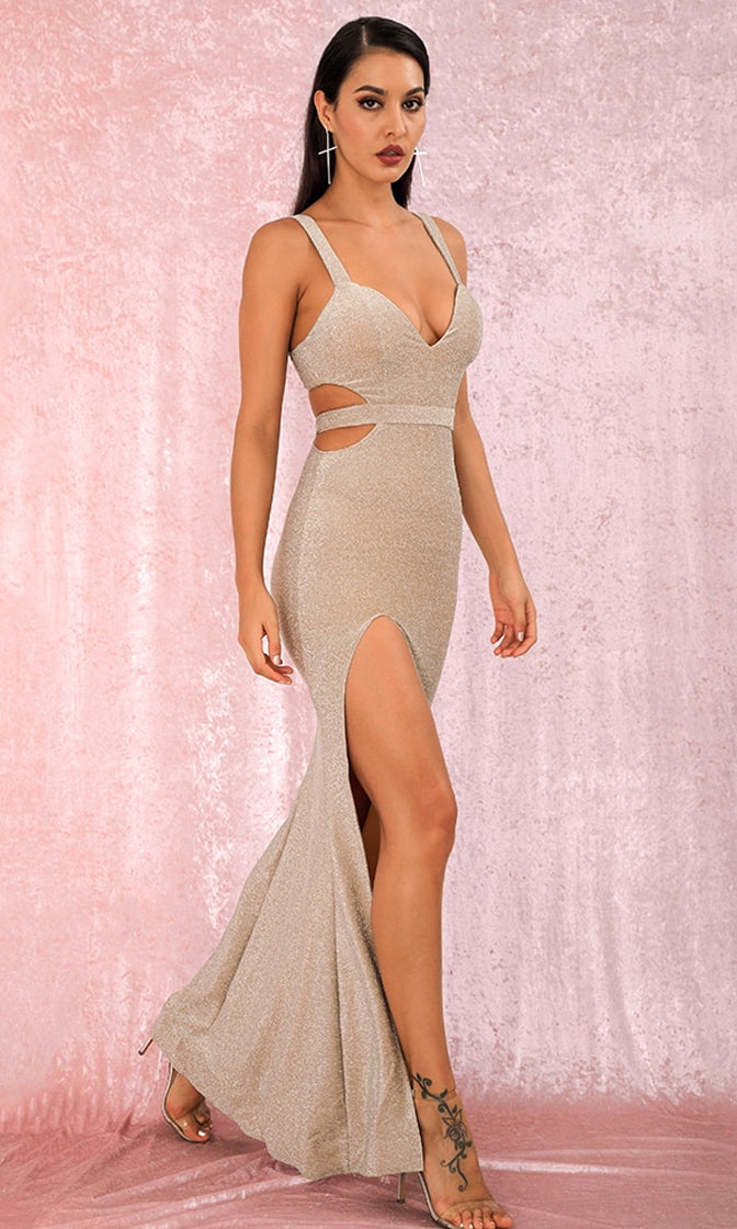 Stacking The Deck Apricot Glitter Sleeveless Plunge V Neck Cut Out Back High Slit Maxi Dress