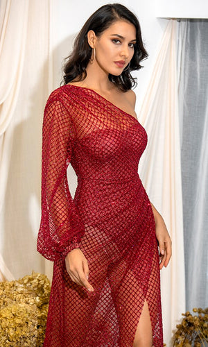 If I Could Fly Red Glitter Sheer Mesh One Long Lantern Sleeve Cross Wrap Split Maxi Dress - Sold Out