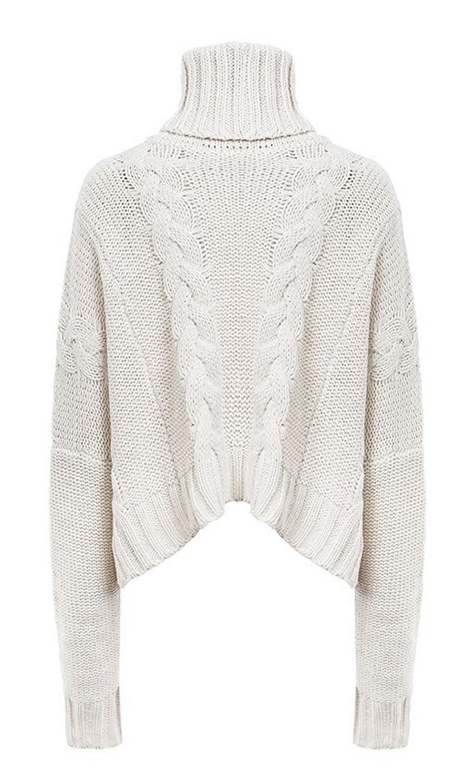 On The Slopes White Cable Chunky Knit Long Sleeve Turtleneck Crop Pullover Sweater
