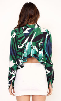 Seal Your Lips Green Black Palm Leaf Floral Pattern Long Sleeve Button Front Ruffle Back Blouse Top - Sold Out