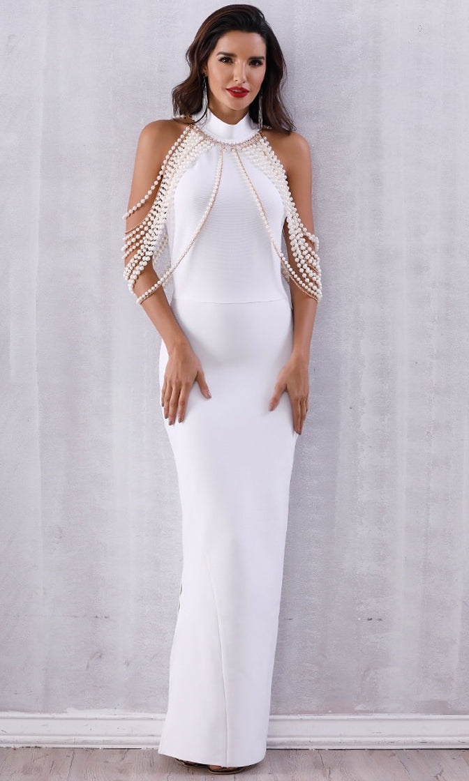 I'll Take Control Black Sleeveless Mock Neck Draped Pearls Chains Backless Bodycon Bandage Maxi Dress