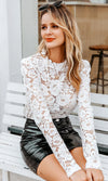 Can't Help You White Sheer Lace Long Sleeve Ruffle Round Neck Keyhole Back Blouse Top