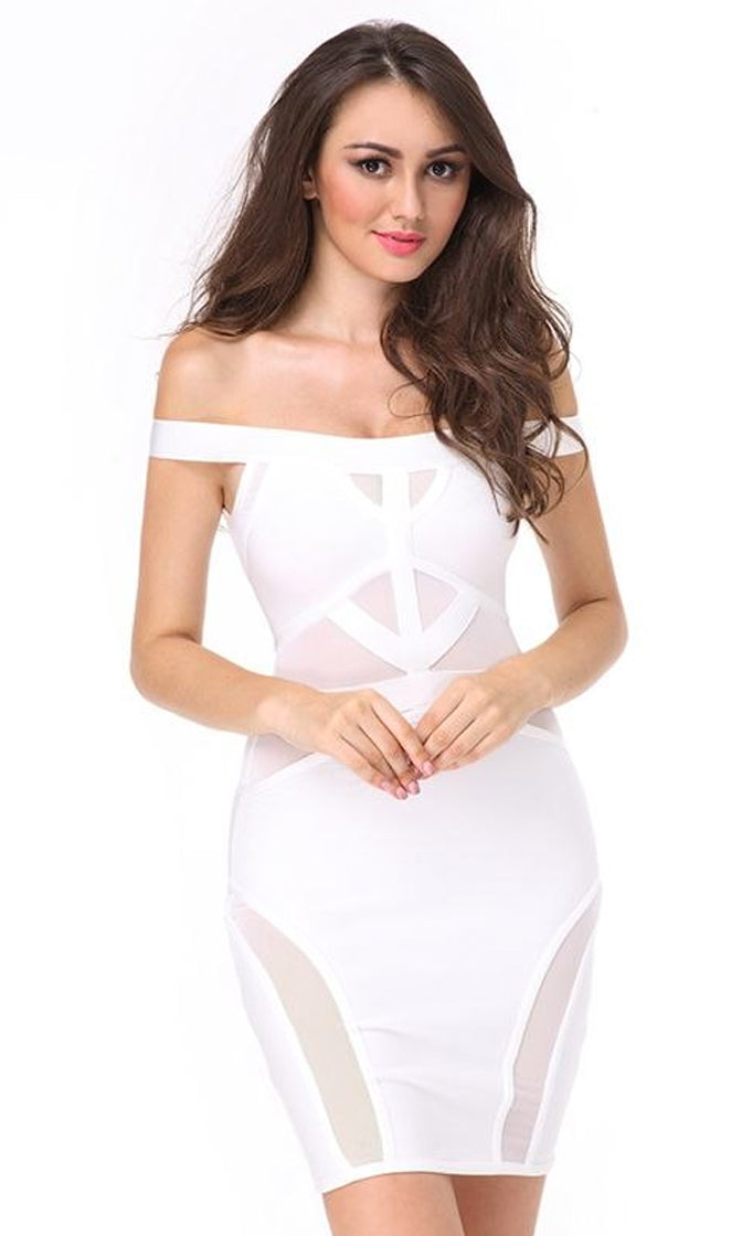 On The Run White Off The Shoulder Sheer Mesh Bodycon Bandage Mini Dress