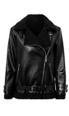 In My Sidecar Black PU Faux Leather Faux Fur Trim Long Sleeve Buckle Asymmetric Zip Motorcycle Coat Outerwear - Sold Out