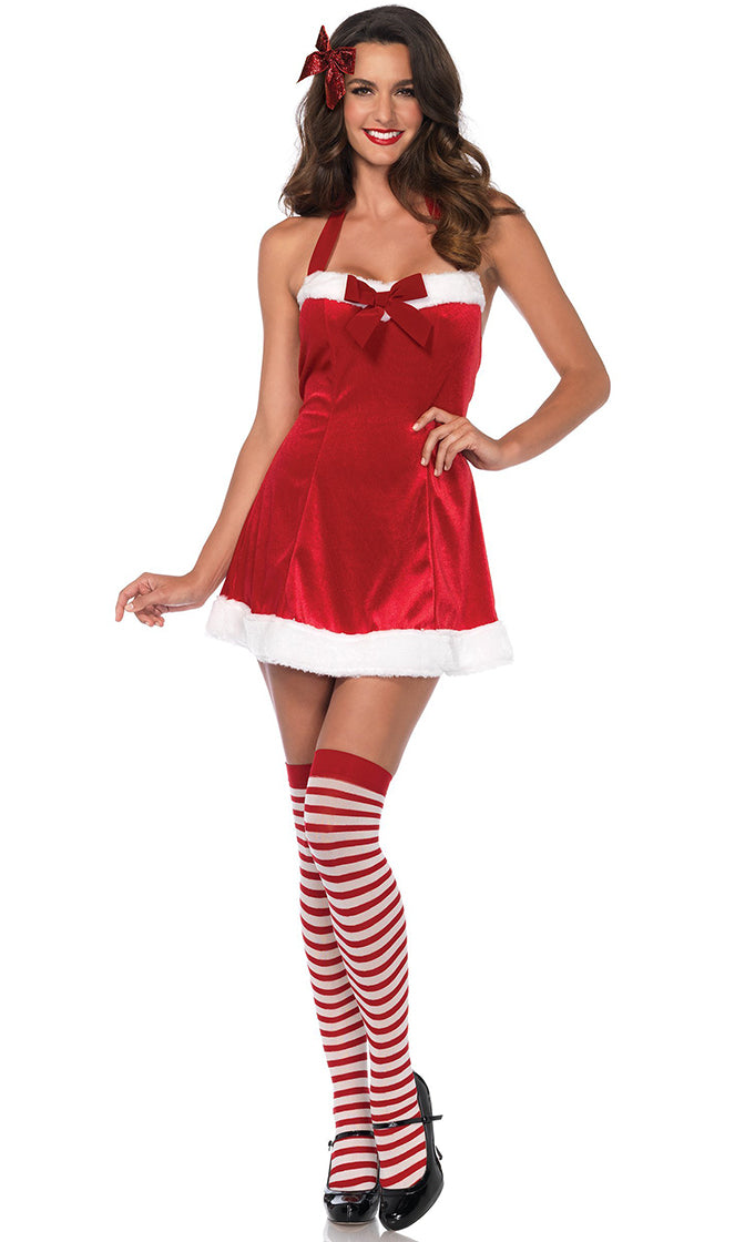 Naughty At The North Pole Red Velvet Sleeveless Halter Bow Flare A Line Mini Dress Halloween Costume