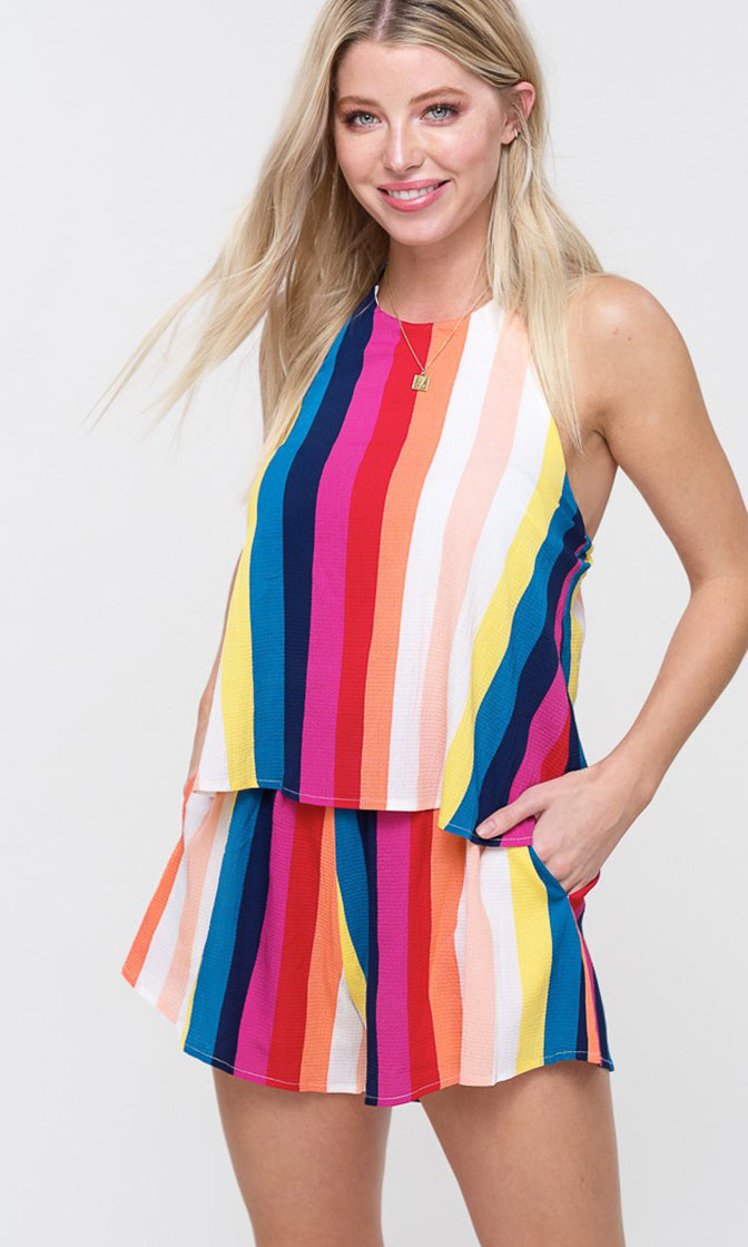 Can't Get Enough Multicolor Vertical Stripe Pattern Sleeveless Spaghetti Strap Tie Halter Scoop Neck Layered Romper Playsuit (Pre-order)