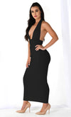 Roll The Dice Black Sleeveless Ribbed Plunge V Neck Halter Backless Bodycon Maxi Dress - 3 Colors Available