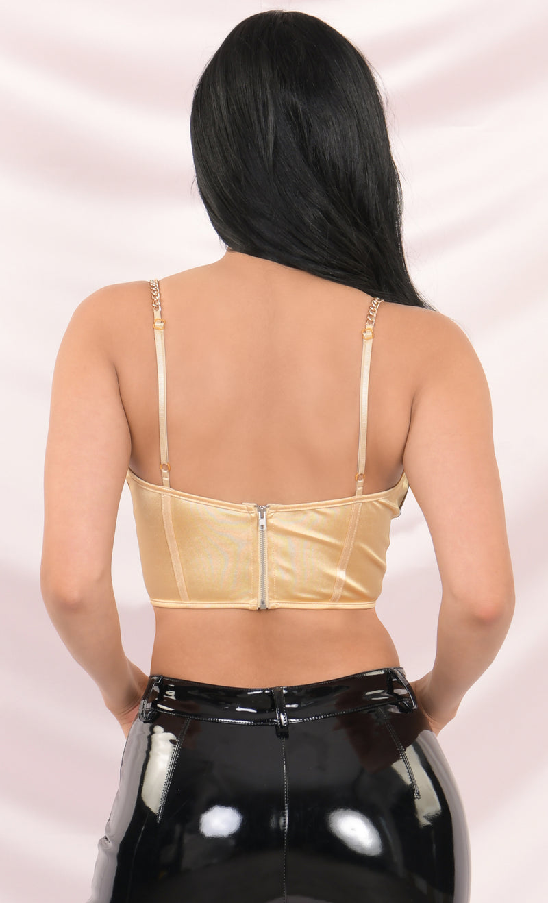 Take It Off Golden Yellow Satin Sleeveless Chain Strap Padded Bustier Crop Tank Top - 5 Colors Available