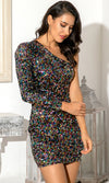Spark A Movement Black Party Sequin One Shoulder Long Sleeve Bodycon Mini Dress