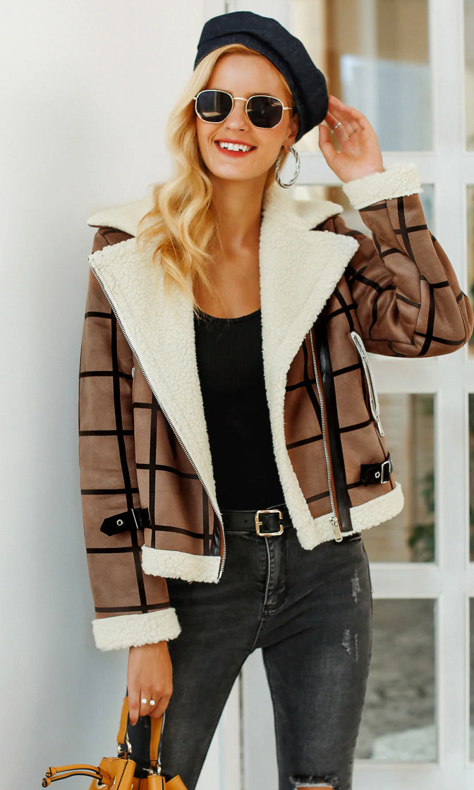 Full Of Spirit Black Brown White Plaid Pattern Faux Suede Faux Fur Long Sleeve Asymmetric Zipper Motorcycle Coat Outerwear
