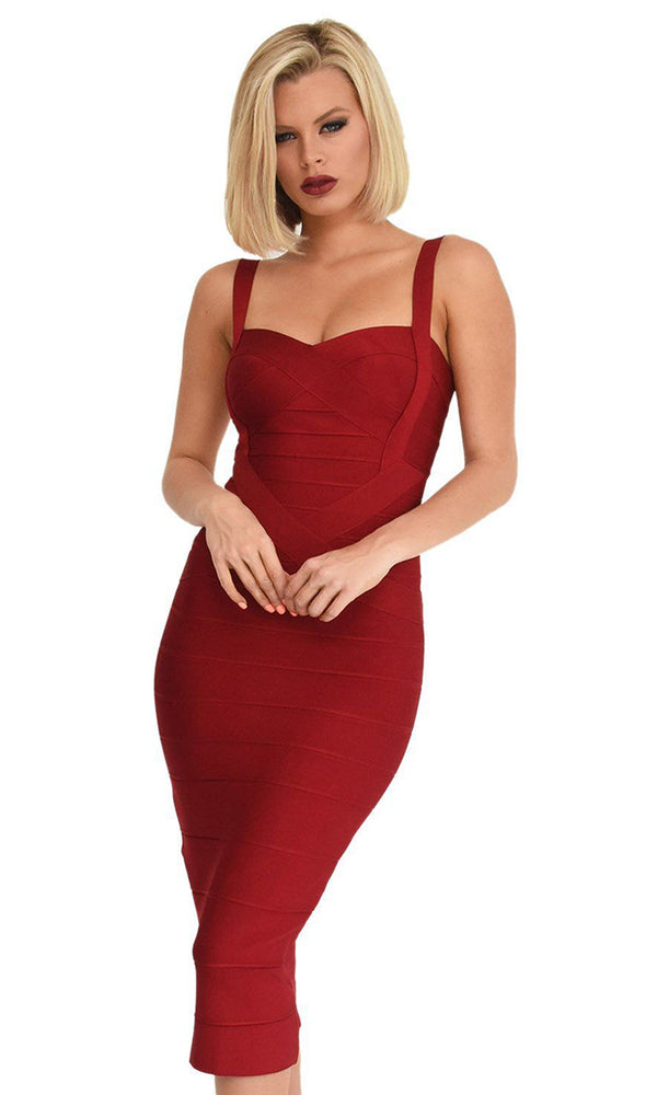 Under My Spell Burgundy Wine Red Sleeveless V Neck Sexy Bandage Bodycon Midi Dress