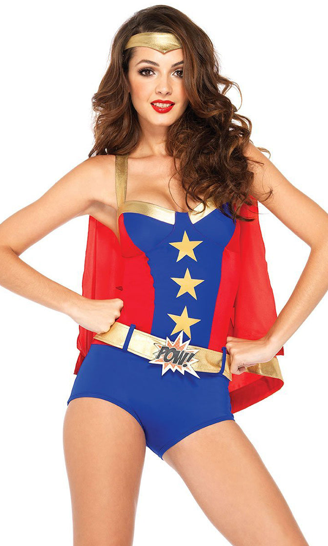 Wonder Why Blue Red Star Pattern Sleeveless Cape Bodycon Romper Playsuit Halloween Costume