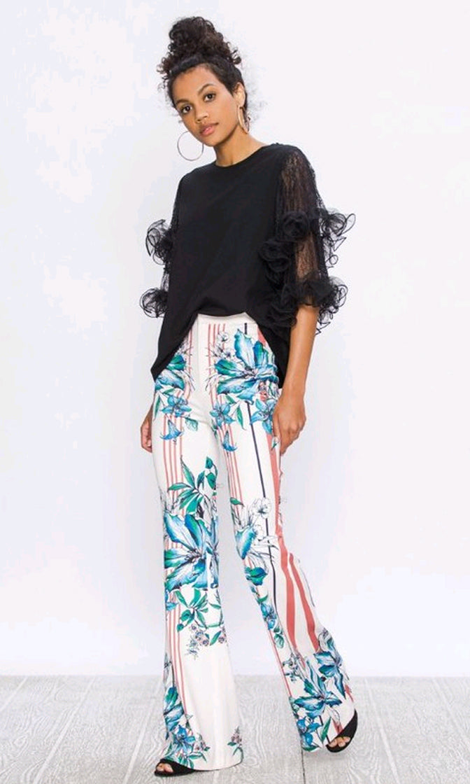 Pleasure Principle Floral Stripe Pattern High Waist Wide Leg Loose Flare Pants